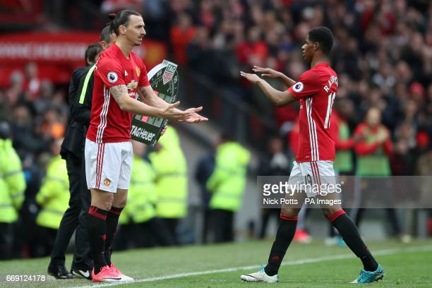 Manchester United's Marcus Rashford is replaced by Manchester United's Zlatan Ibrahimovic during the Premier League match at Old Trafford Manchester