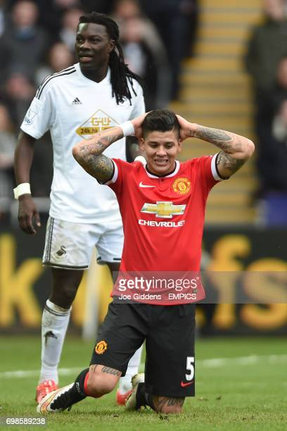 Manchester United's Marcus Rojo rues a missed chance