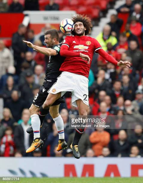 Manchester United's Marouane Fellaini and Crystal Palace's James McArthur battle for the ball during the Premier League match at Old Trafford...