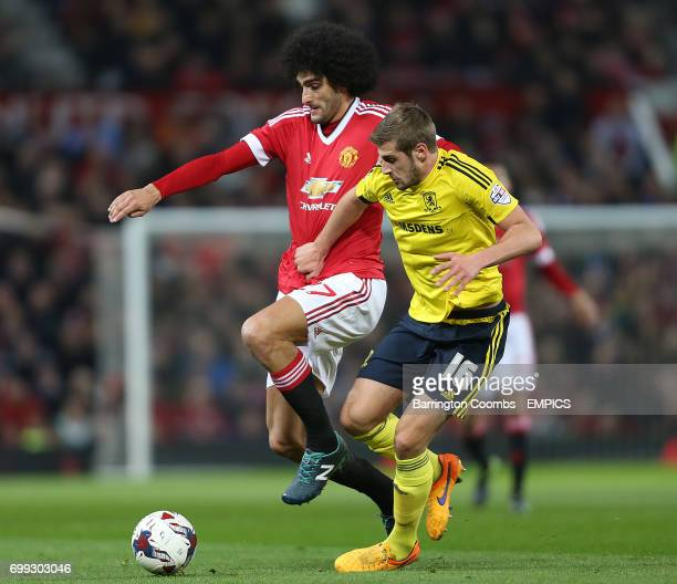Manchester United's Marouane Fellaini and Middlesbrough's Jack Stephens battle for the ball