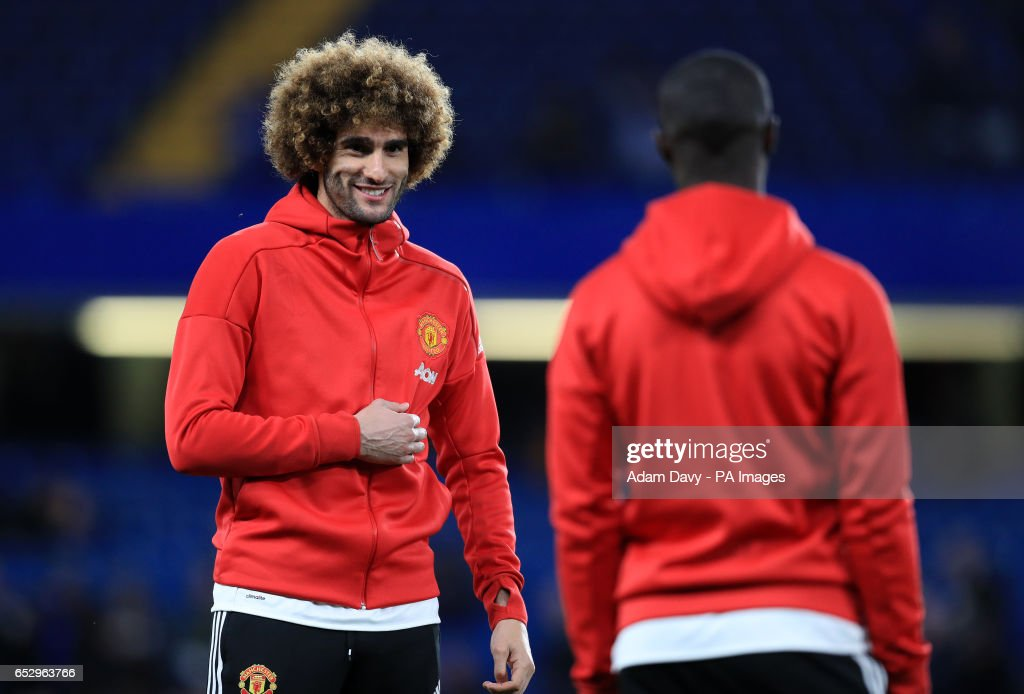 Manchester United's Marouane Fellaini during during the warm up before the Emirates FA Cup, Quarter Final match at Stamford Bridge, London.