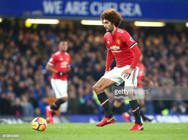 Manchester United's Marouane Fellaini during the Premier League match between Chelsea and Manchester United at Stamford Bridge London England on 05...