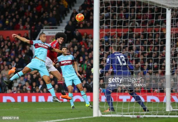 Manchester United's Marouane Fellaini heads wide