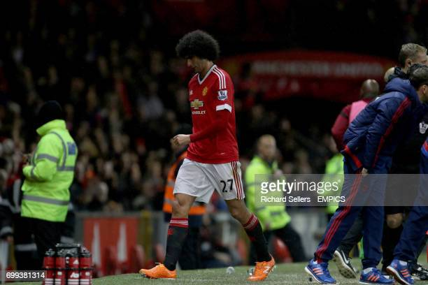 Manchester United's Marouane Fellaini is substituted off