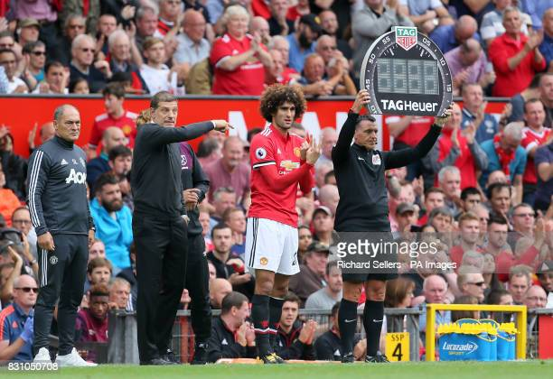 Manchester United's Marouane Fellaini is substituted on during the Premier League match at Old Trafford Manchester