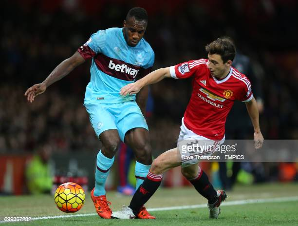 Manchester United's Matteo Darmian and West Ham United's Michail Antonio