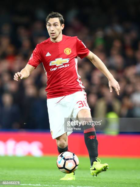 Manchester United's Matteo Darmian during the The Emirates FA Cup Sixth Round match between Chelsea and Manchester United at Stamford Bridge London...