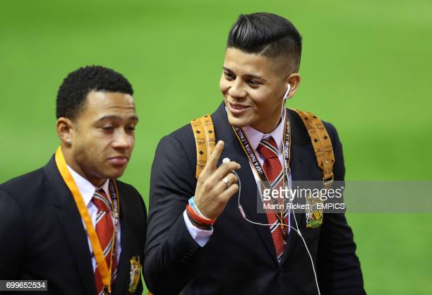 Manchester United's Memphis Depay and Marcos Rojo arriving before the game