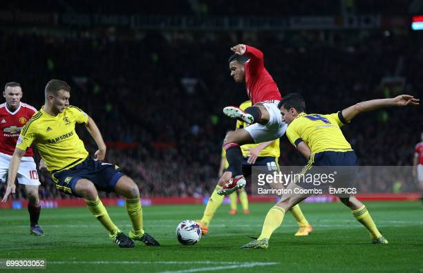 Manchester United's Memphis Depay and Middlesbrough's Daniel Ayala in action