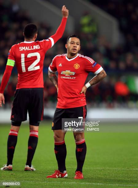 Manchester United's Memphis Depay appears dejected