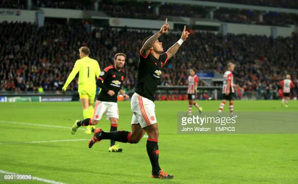 Manchester United's Memphis Depay celebrates scoring his side's first goal of the game
