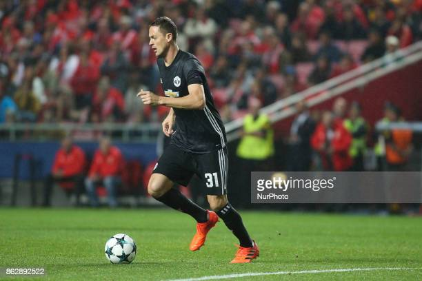Manchester United's midfielder Nemanja Matic controls the ball during the Champions League football match between SL Benfica and Manchester United at...