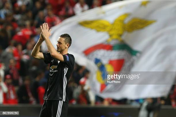 Manchester Uniteds midfielder Nemanja Matic from Serbia thanks supporters at the end of the match between SL Benfica v Manchester United FC UEFA...