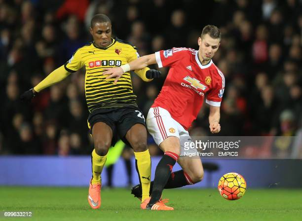 Manchester United's Morgan Schneiderlin and Watford's Odion Ighalo battle for the ball