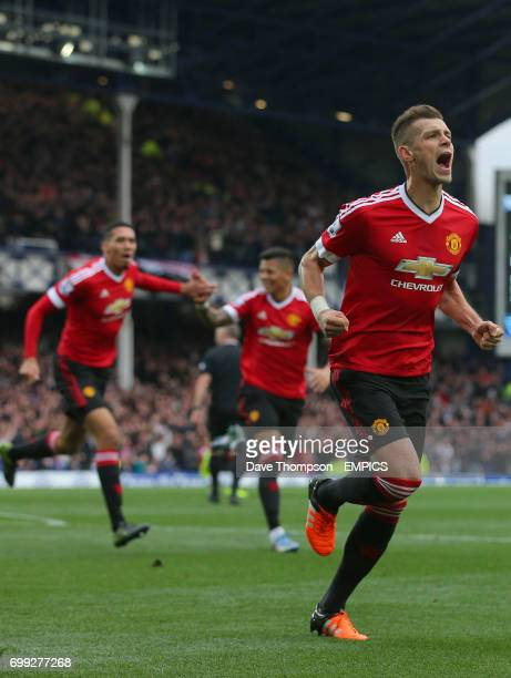 Manchester United's Morgan Schneiderlin celebrates scoring the first goal