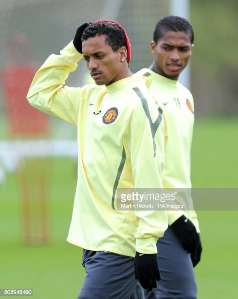 Manchester United's Nani and Antonia Valencia during a training session at Carrington Training Ground Manchester