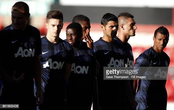 Manchester United's Nani and team mates before kick off during a pre season friendly at Gresty Road Crewe ASSOCIATION Photo Picture date Monday July...