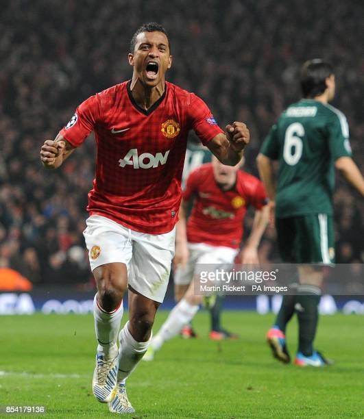 Manchester United's Nani celebrates after an own goal by Real Madrid's Garcia Sergio Ramos during the UEFA Champions League match at Old Trafford...