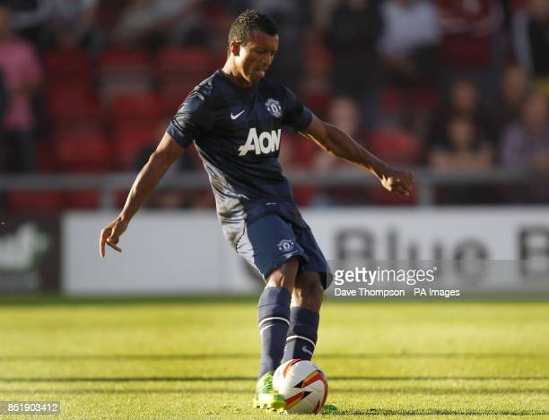 Manchester United's Nani scores from a free kick during a pre season friendly at Gresty Road Crewe ASSOCIATION Photo Picture date Monday July 29 2013...