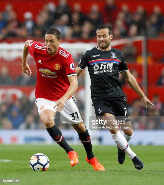 Manchester United's Nemanja Matic and Crystal Palace's Yohan Cabaye battle for the ball during the Premier League match at Old Trafford Manchester