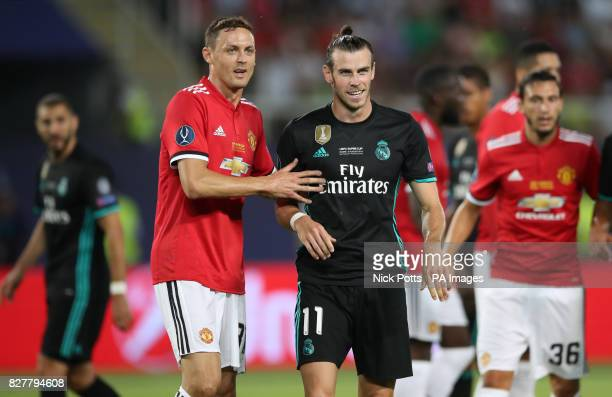 Manchester United's Nemanja Matic and Real Madrid's Gareth Bale during the UEFA Super Cup match at the Philip II Arena Skopje Macedonia