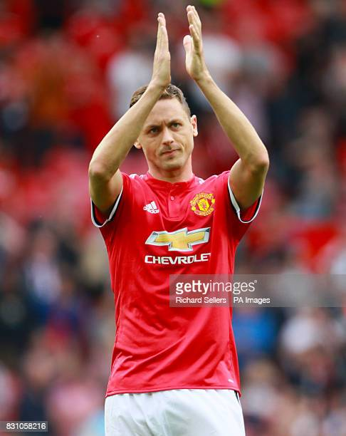 Manchester United's Nemanja Matic applauds the fans after the final whistle of the Premier League match at Old Trafford Manchester