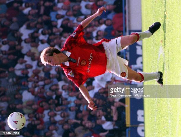 Manchester United's new Dutch signing Jordi Cruyff watches the ball during the champions' opening game of the season against Wimbledon at Selhurst...