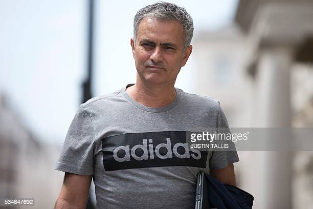 TOPSHOT Manchester United's new Portuguese manager Jose Mourinho returns to his home in central London on May 27 2016 Manchester United on Friday...