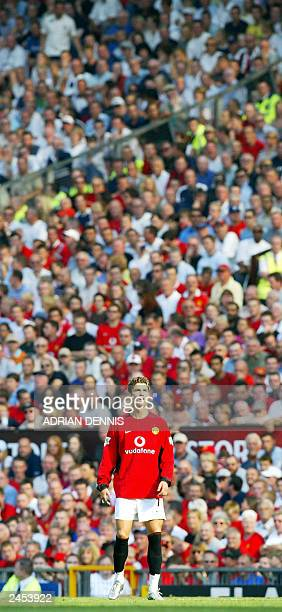 Manchester United's new signing Cristiano Ronaldo makes his debut in front of the home fans during the game against Bolton Wanderers in the first...