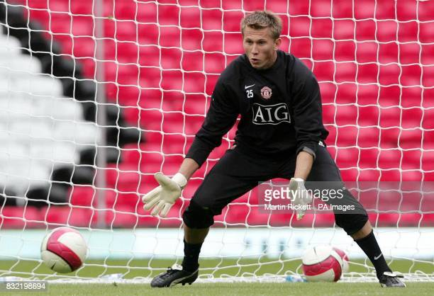 Manchester United's new signing Tomasz Kuszczak during a training session at Old Trafford Manchester