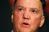 Manchester United's newlyappointed Dutch manager Louis van Gaal addresses a press conference at Old Trafford in Manchester northwest England on July...