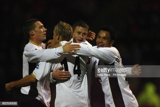 Manchester United's Ole Gunnar Solskjaer celebrates his goal against Crewe with Kieran Richardson and Alan Smith during the Carling Cup third round...