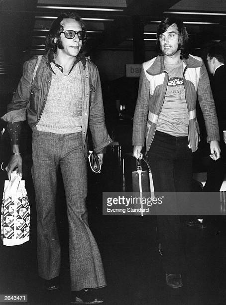 Manchester United's onetime star player George Best Irish footballer arriving at Heathrow Airport London