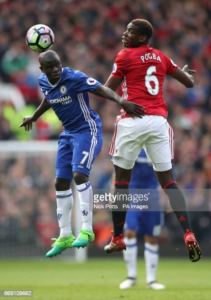 Manchester United's Paul Pogba and Chelsea's N'Golo Kante battle for the ball during the Premier League match at Old Trafford Manchester