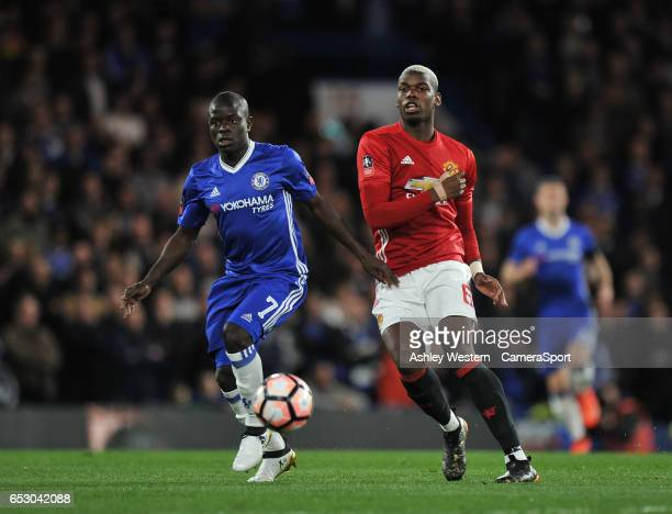 Manchester United's Paul Pogba and Chelsea's Ngolo Kante in action during the Emirates FA Cup QuarterFinal match between Chelsea and Manchester...