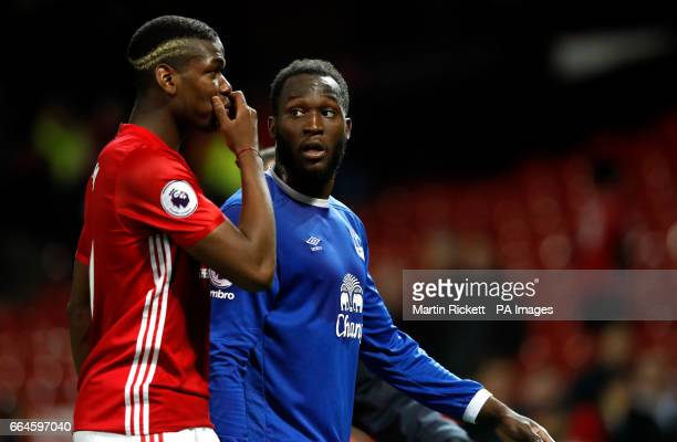 Manchester United's Paul Pogba and Everton's Romelu Lukaku after the Premier League match at Old Trafford Manchester