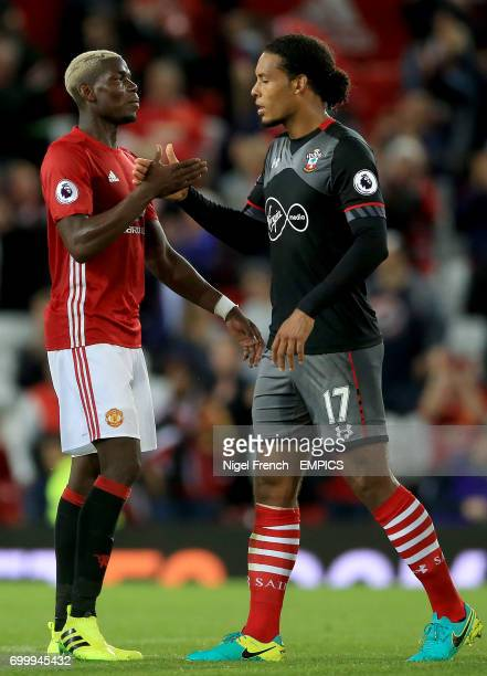 Manchester United's Paul Pogba and Southampton's Virgil van Dijk shake hands after the final whistle