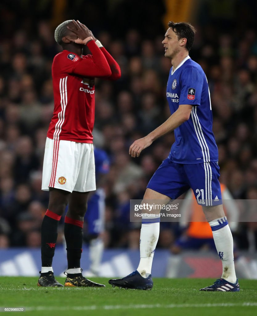 Manchester United's Paul Pogba looks dejected during the Emirates FA Cup, Quarter Final match at Stamford Bridge, London.