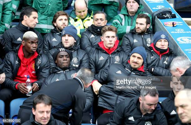 Manchester United's Paul Pogba Luke Shaw Dean Henderson Bastian Schweinsteiger Zlatan Ibrahimovic and Eric Bailly in the dugout during the Emirates...