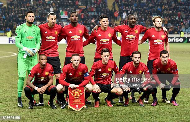 Manchester United's players British midfielder Ashley Young British forward Wayne Rooney Spanish midfielder Ander Herrera Spanish midfielder Juan...