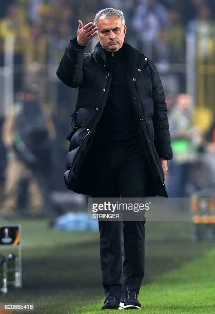 Manchester United's Portuegese head coach Jose Mourinho gestures during the UEFA Europa League football Fenerbahce SK vs Manchester United at the...