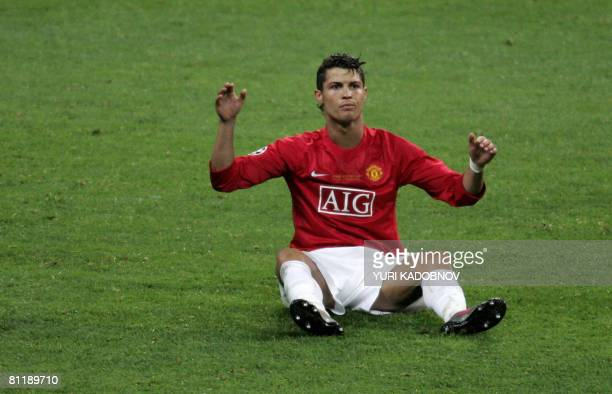 Manchester United's Portugese midfielder Cristiano Ronaldo appeals for a foul during the final of the UEFA Champions League football match against...