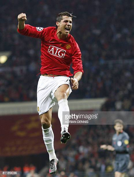 Manchester United's Portugese midfielder Cristiano Ronaldo celebrates after scoring against Chelsea during the final of the UEFA Champions League...