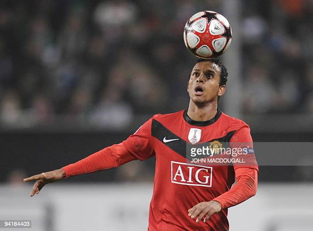Manchester United's Portugese player Nani controls the ball during the UEFA Champions League group B football match Wolfsburg vs Manchester United in...