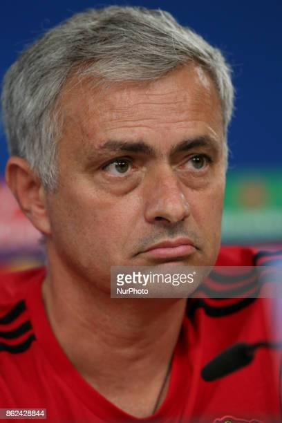 Manchester United's Portuguese head coach Jose Mourinho attends a press conference at the Luz stadium in Lisbon Portugal on October 17 on the eve of...