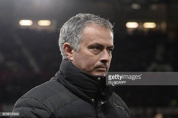 Manchester United's Portuguese manager Jose Mourinho arrives for the UEFA Europa League group A football match between Manchester United and...