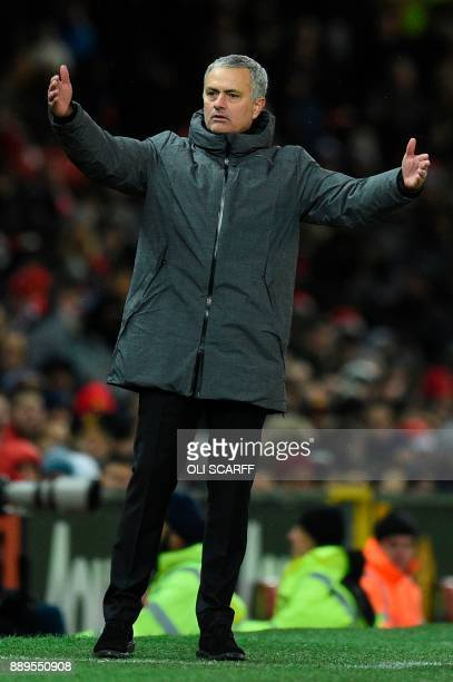 Manchester United's Portuguese manager Jose Mourinho gestures on the thouchline during the English Premier League football match between Manchester...