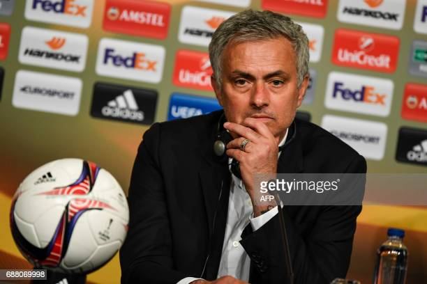 Manchester United's Portuguese manager Jose Mourinho holds a press conference after winning the UEFA Europa League final football match Ajax...
