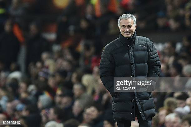 Manchester United's Portuguese manager Jose Mourinho smiles on the touchline during the UEFA Europa League group A football match between Manchester...