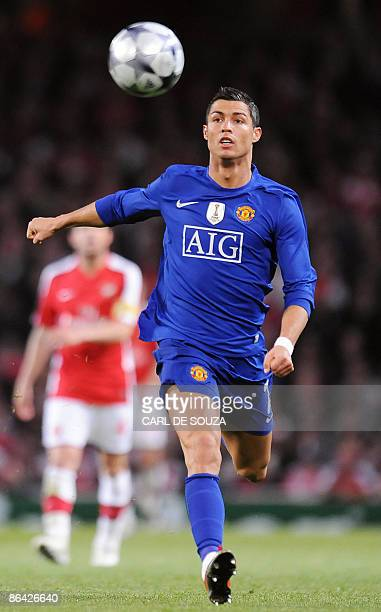 Manchester United's Portuguese midfielder Cristiano Ronaldo in action during their UEFA Champions League semi final second leg football match against...